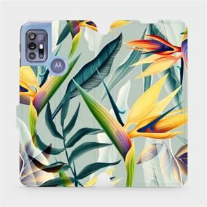 Flipové pouzdro Mobiwear na mobil Motorola Moto G30 - MC02S Žluté velké květy a zelené listy