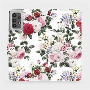Flip pouzdro Mobiwear na mobil Samsung Galaxy A32 LTE - MD01S Růže na bílé