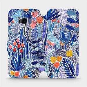 Flip pouzdro Mobiwear na mobil Samsung Galaxy S8 - MP03P Modrá květena