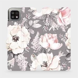Flip pouzdro Mobiwear na mobil Samsung Galaxy A22 5G - MX06S Květy na šedém pozadí