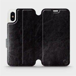 Parádní flip pouzdro Mobiwear na mobil Apple iPhone X v provedení C_BLP Black&Orange s oranžovým vnitřkem