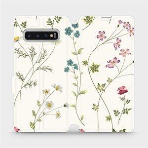 Flipové pouzdro Mobiwear na mobil Samsung Galaxy S10 Plus - MD03S Tenké rostlinky s květy