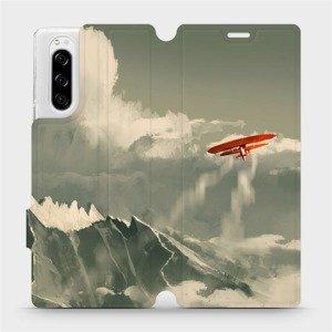Flipové pouzdro Mobiwear na mobil Sony Xperia 5 - MA03P Oranžové letadlo v horách