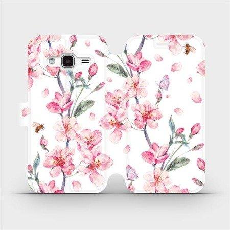 Flipové pouzdro Mobiwear na mobil Samsung Galaxy J3 2016 - M124S Růžové květy
