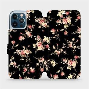 Flipové pouzdro Mobiwear na mobil Apple iPhone 12 Pro Max - VD02S Květy na černé - výprodej