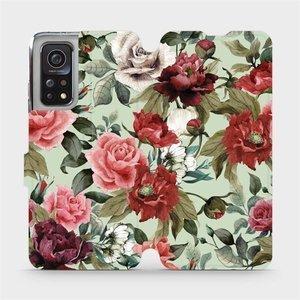 Flipové pouzdro Mobiwear na mobil Xiaomi MI 10T Pro - MD06P Růže a květy na světle zeleném pozadí
