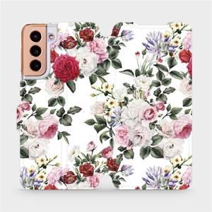 Flipové pouzdro Mobiwear na mobil Samsung Galaxy S21 5G - MD01S Růže na bílé