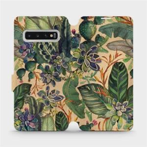 Flip pouzdro Mobiwear na mobil Samsung Galaxy S10 - VP05S Sukulenty
