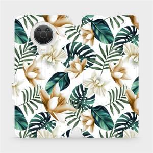 Flip pouzdro Mobiwear na mobil Nokia G20 - MC07P Zlatavé květy a zelené listy