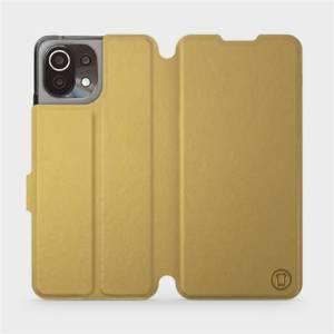 Flip pouzdro Mobiwear na mobil Xiaomi 11 Lite 5G NE v provedení C_GOS Gold&Gray s šedým vnitřkem
