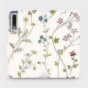 Flipové pouzdro Mobiwear na mobil Samsung Galaxy A7 2018 - MD03S Tenké rostlinky s květy