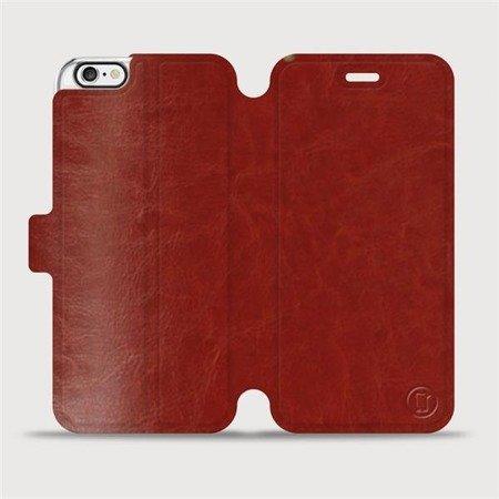 Parádní flip pouzdro Mobiwear na mobil Apple iPhone 6 / iPhone 6s v provedení C_BRP Brown&Orange s oranžovým vnitřkem