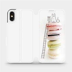Flipové pouzdro Mobiwear na mobil Apple iPhone X - M090P Makronky - have a nice day