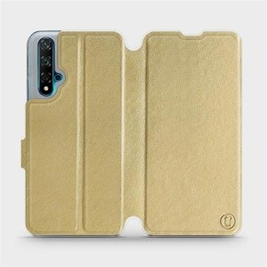 Flipové pouzdro Mobiwear na mobil Huawei Nova 5T v provedení C_GOS Gold&Gray s šedým vnitřkem