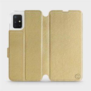 Flipové pouzdro Mobiwear na mobil Samsung Galaxy A51 v provedení C_GOP Gold&Orange s oranžovým vnitřkem