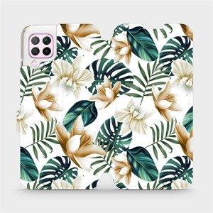 Flipové pouzdro Mobiwear na mobil Huawei P40 Lite - MC07P Zlatavé květy a zelené listy