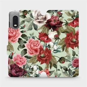 Flipové pouzdro Mobiwear na mobil Samsung Xcover PRO - MD06P Růže a květy na světle zeleném pozadí