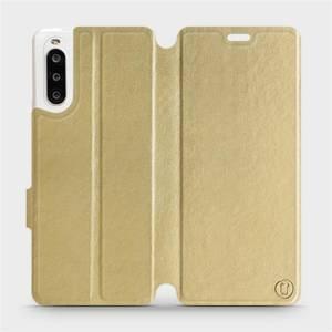 Flipové pouzdro Mobiwear na mobil Sony Xperia 10 II v provedení C_GOS Gold&Gray s šedým vnitřkem