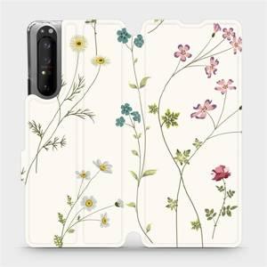 Flipové pouzdro Mobiwear na mobil Sony Xperia 1 II - MD03S Tenké rostlinky s květy