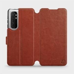 Flipové pouzdro Mobiwear na mobil Xiaomi Mi Note 10 Lite v provedení C_BRP Brown&Orange s oranžovým vnitřkem