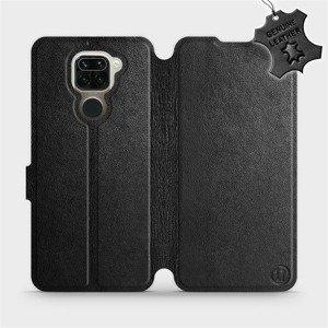 Luxusní flip pouzdro Mobiwear na mobil Xiaomi Redmi Note 9 - Černé - kožené - L_BLS Black Leather - výprodej