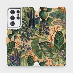 Flip pouzdro Mobiwear na mobil Samsung Galaxy S21 Ultra - VP05S Sukulenty