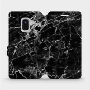 Flipové pouzdro Mobiwear na mobil Samsung Galaxy A8 2018 - V056P Černý mramor