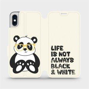 Flipové pouzdro Mobiwear na mobil Apple iPhone XS - M041S Panda - life is not always black and white