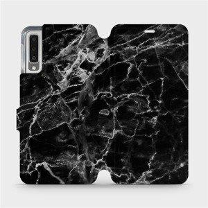 Flipové pouzdro Mobiwear na mobil Samsung Galaxy A7 2018 - V056P Černý mramor
