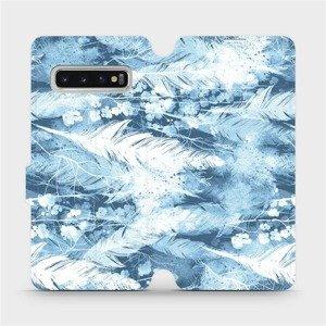 Flipové pouzdro Mobiwear na mobil Samsung Galaxy S10 - M058S Světle modrá horizontální pírka