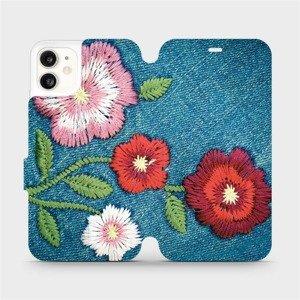 Flipové pouzdro Mobiwear na mobil Apple iPhone 11 - MD05P Džínové květy