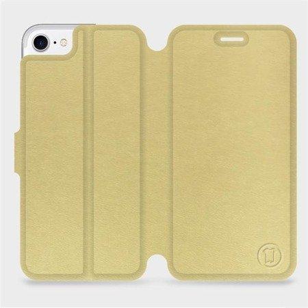 Parádní flip pouzdro Mobiwear na mobil Apple iPhone 7 v provedení C_GOP Gold&Orange s oranžovým vnitřkem