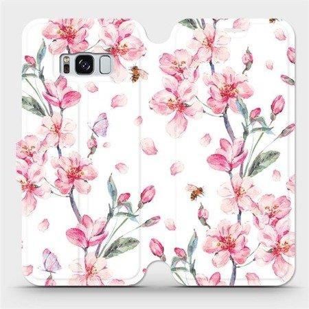 Flipové pouzdro Mobiwear na mobil Samsung Galaxy S8 - M124S Růžové květy