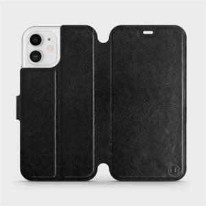 Flipové pouzdro Mobiwear na mobil Apple iPhone 12 v provedení C_BLS Black&Gray s šedým vnitřkem