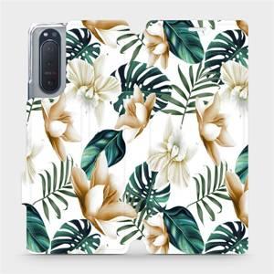 Flipové pouzdro Mobiwear na mobil Sony Xperia 5 II - MC07P Zlatavé květy a zelené listy