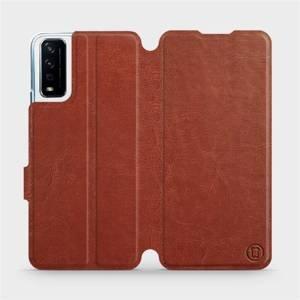 Flipové pouzdro Mobiwear na mobil Vivo Y11S v provedení C_BRP Brown&Orange s oranžovým vnitřkem