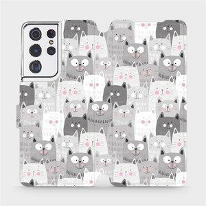Flipové pouzdro Mobiwear na mobil Samsung Galaxy S21 Ultra 5G - M099P Kočičky