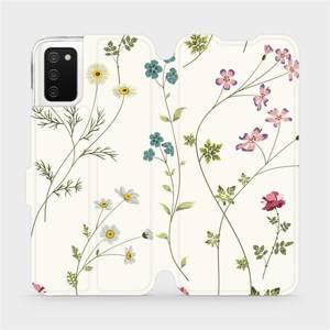 Flipové pouzdro Mobiwear na mobil Samsung Galaxy A02s - MD03S Tenké rostlinky s květy