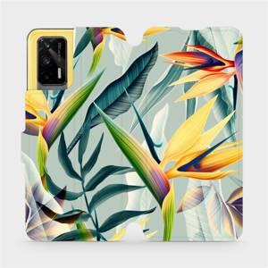 Flipové pouzdro Mobiwear na mobil Realme GT 5G - MC02S Žluté velké květy a zelené listy