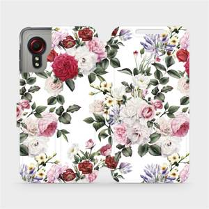 Flipové pouzdro Mobiwear na mobil Samsung Galaxy Xcover 5 - MD01S Růže na bílé