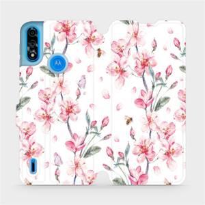 Flipové pouzdro Mobiwear na mobil Motorola Moto E7i Power - M124S Růžové květy
