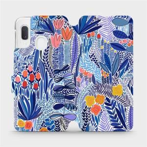 Flip pouzdro Mobiwear na mobil Samsung Galaxy A20e - MP03P Modrá květena