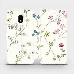 Flipové pouzdro Mobiwear na mobil Samsung Galaxy J3 2017 - MD03S Tenké rostlinky s květy