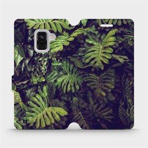Flipové pouzdro Mobiwear na mobil Samsung Galaxy A8 2018 - V136P Zelená stěna z listů