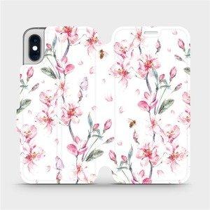 Flipové pouzdro Mobiwear na mobil Apple iPhone XS - M124S Růžové květy