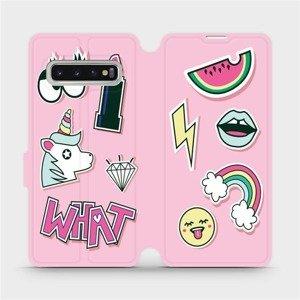 Flipové pouzdro Mobiwear na mobil Samsung Galaxy S10 - M129S Růžové WHAT