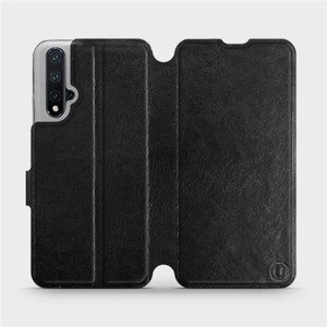 Flipové pouzdro Mobiwear na mobil Honor 20 v provedení C_BLS Black&Gray s šedým vnitřkem