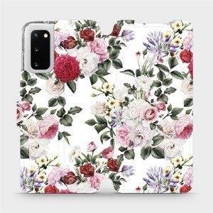 Flipové pouzdro Mobiwear na mobil Samsung Galaxy S20 - MD01S Růže na bílé