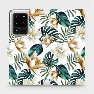 Flipové pouzdro Mobiwear na mobil Samsung Galaxy S20 Ultra - MC07P Zlatavé květy a zelené listy