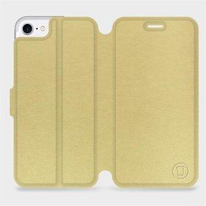 Flipové pouzdro Mobiwear na mobil Apple iPhone SE 2020 v provedení C_GOS Gold&Gray s šedým vnitřkem